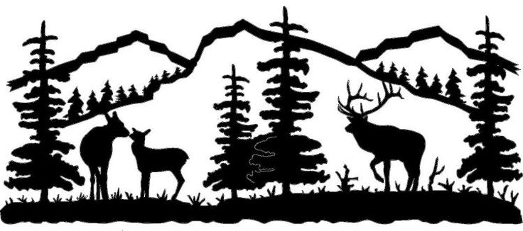 Bull Cow And Baby Elk Silhouette For Mural On Wall In