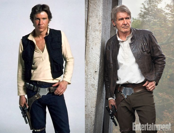 Han Solo/Harrison Ford Left: 1977 Star Wars Promo photo. Right: 2015 The Force Awakens promo.