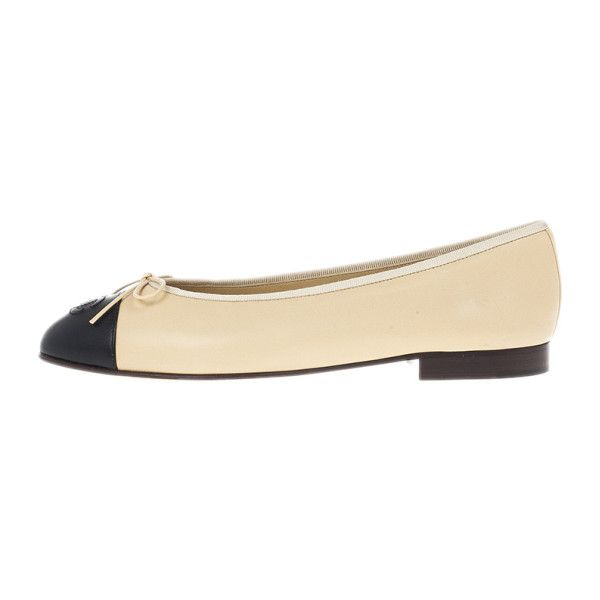 Chanel Beige Leather CC Cap Toe Ballet Flats Size 40.5 ❤ liked on Polyvore featuring shoes, flats, ballerina shoes, beige shoes, beige flats, ballet pumps and beige ballet flats