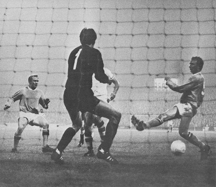 18th September 1968. Manchester City striking duo Francis Lee and Mike Summerbee contrive to miss an open goal against Fenerbache in the European Cup 1st round 1st leg, at Maine Road.