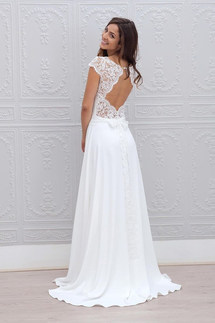 A-Line Cap Sleeves Open Back Lace Chiffon Bridal Wedding Dresses with Sweep Train 8