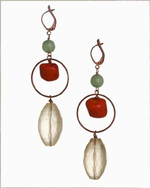 Corals and quartzs. Handmade earrings.