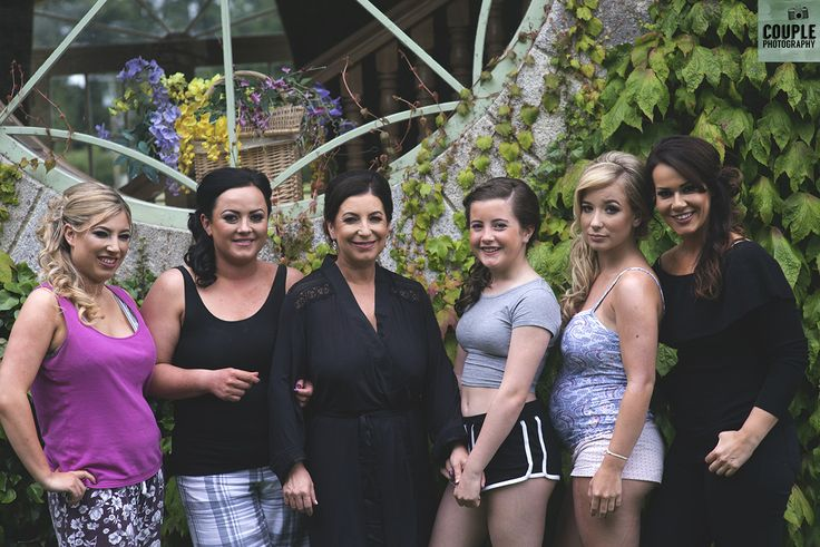 The bridesmaids get together for a last photo in the casual gear before putting on the dresses. Weddings by Couple Photography. www.couple.ie