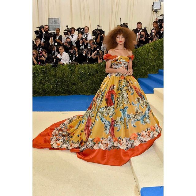 Zendaya wore a Dolce&Gabbana Alta Moda double organza baroque gown in pappagalli carousel print. #MetGala #DGCelebs  via DOLCE & GABBANA OFFICIAL INSTAGRAM - Celebrity  Fashion  Haute Couture  Advertising  Culture  Beauty  Editorial Photography  Magazine Covers  Supermodels  Runway Models