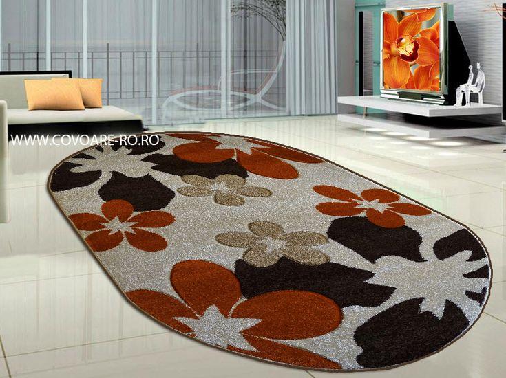 covoare moderne cu flori caramizii,bej ,maro pentru bucatarie,ovale