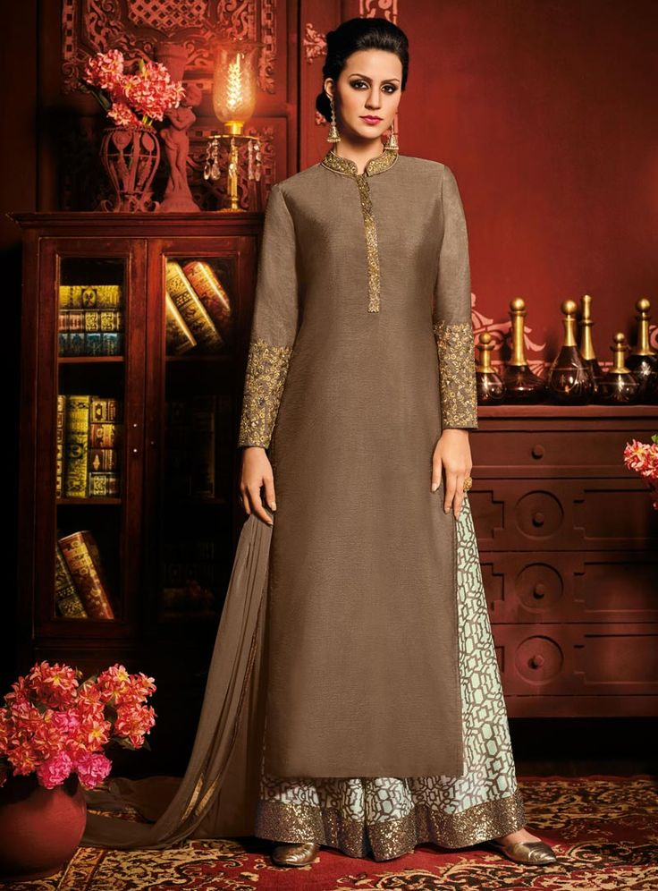 Brown Silk Palazzo Style Suit 90830