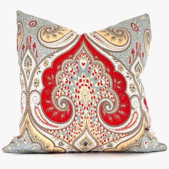 Decorative Pillow Cover Kravet Red Yellow Gray Paisley Ikat Square Or Lumbar Throw Accent Toss Latika Colors