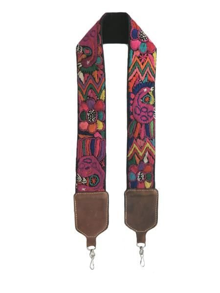 Fair Trade Boho Vintage-inspired Huipil & Leather Camera or Guitar Strap // Pineapples Coconuts Kombis
