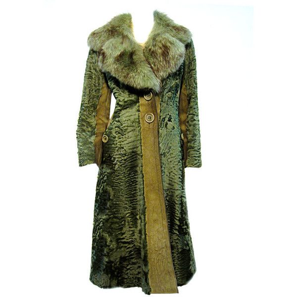 Green suede fur coat