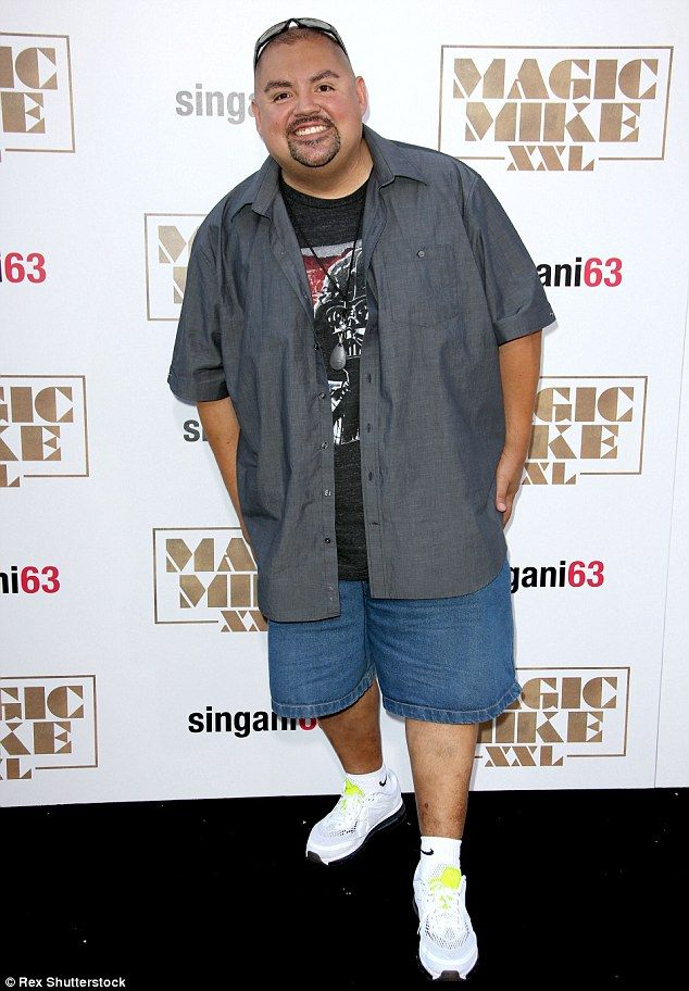 Casual attire: Gabriel Iglesias donned shorts and trainers and a big smile at the premiere...