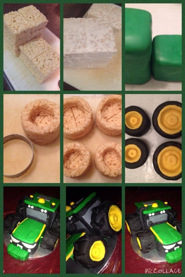 How to make a rice krispie and fondant tractor
