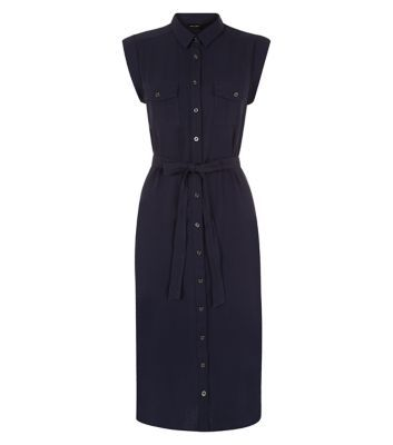 Navy Double Pocket Front Tie Waist Midi Shirt Dress