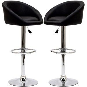 LexMod Two Marshmallow Bar Stools in Black