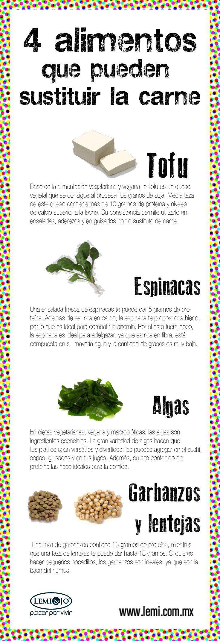 4 alimentos sustitutos de la carne - Infografías y Remedios. #infografia #infographic #nutrición