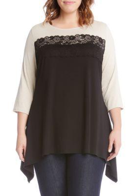Karen Kane Women's Plus Size Lace Combo Handkerchief Top - Black - 1X