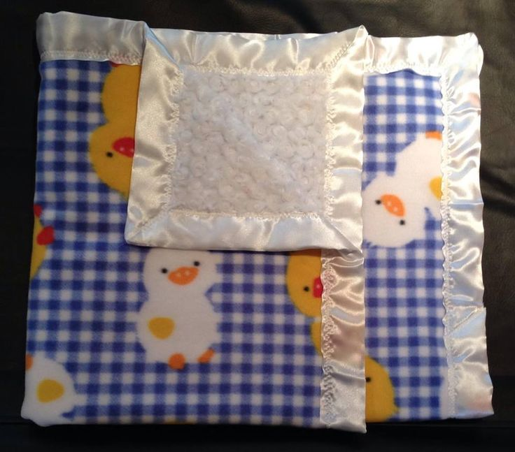 blue plaid with yellow and white ducks. white rose and white trim. 36x36""