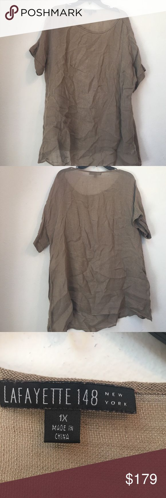 Host pick Lafayette 148 beige short sleeve top 1x Made from 100% linen Thanks so much for looking. I accept all reasonable offers!!  Host pick for plus size posh party 4/12/17!! Lafayette 148 New York Tops Blouses
