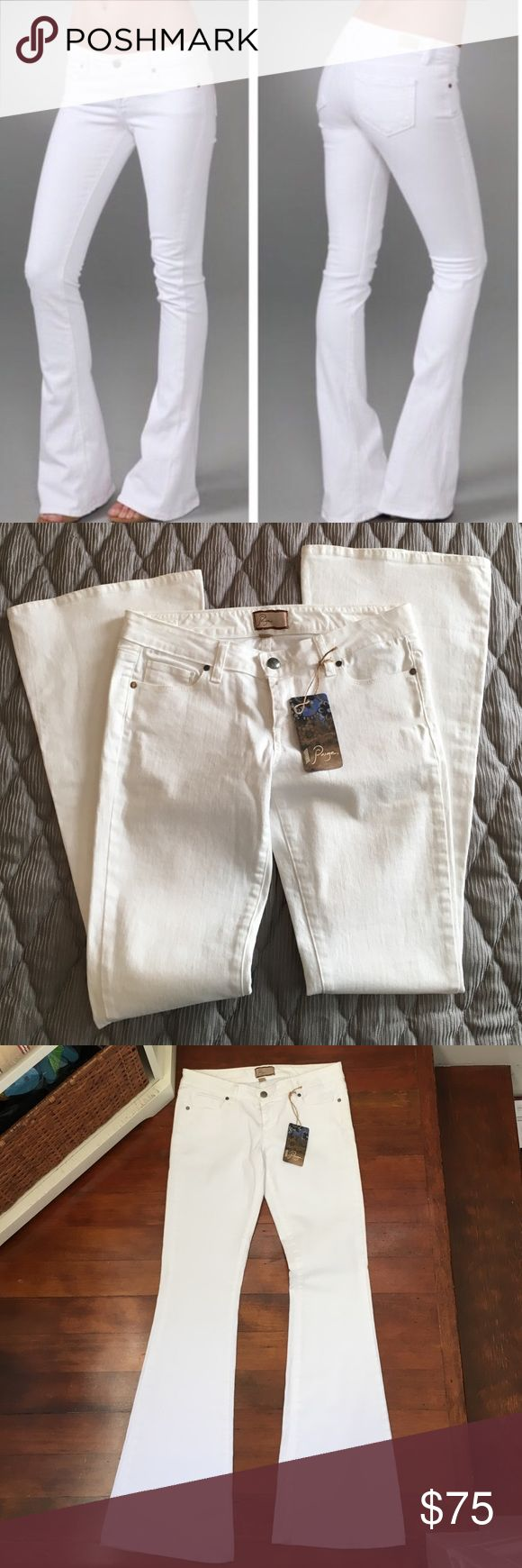 "⚜️SALE⚜️NWT! Paige Laurel Canyon Flare in White ULTRA WHITE A mid rise flare jean that hugs like a skinny down the leg and kicks out mid-calf into a perfect flare. This white jean that is perfect for spring / summer. Finished with faux pockets and Paige leather patch.   Front Rise: 8 3/8"" Inseam: 34"" Leg Opening: 21 3/4"" 10 oz Fabric 92% Cotton, 6% Elastomultiester, 2% Elastane Paige Jeans Jeans"
