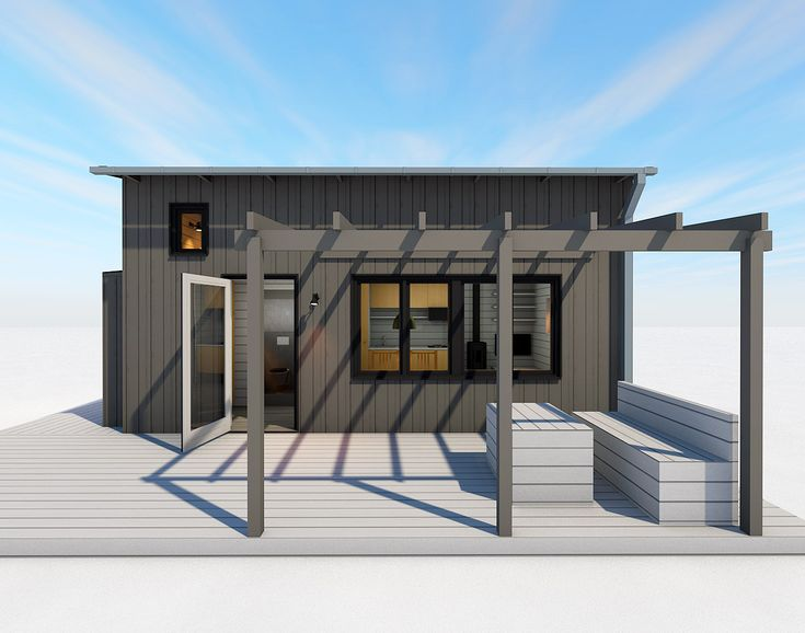 Attefallshus med loft och plats för hörnsoffa och skrivbord. En bra studentbostad. Godkänd som permanentboende med stomme 145 mm.