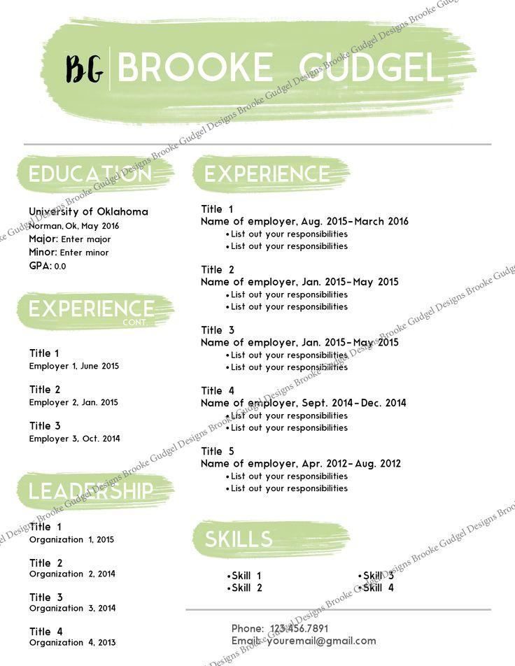 Ivy Resume, contact: brookegudgel@gmail.com #resume #sorority #rush #template