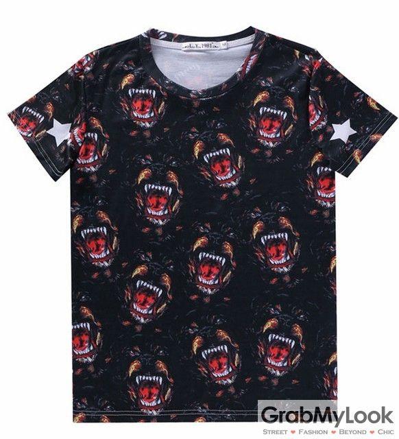 GrabMyLook Black Fierce Dog Rottweiler Mens Short Sleeves T Shirt