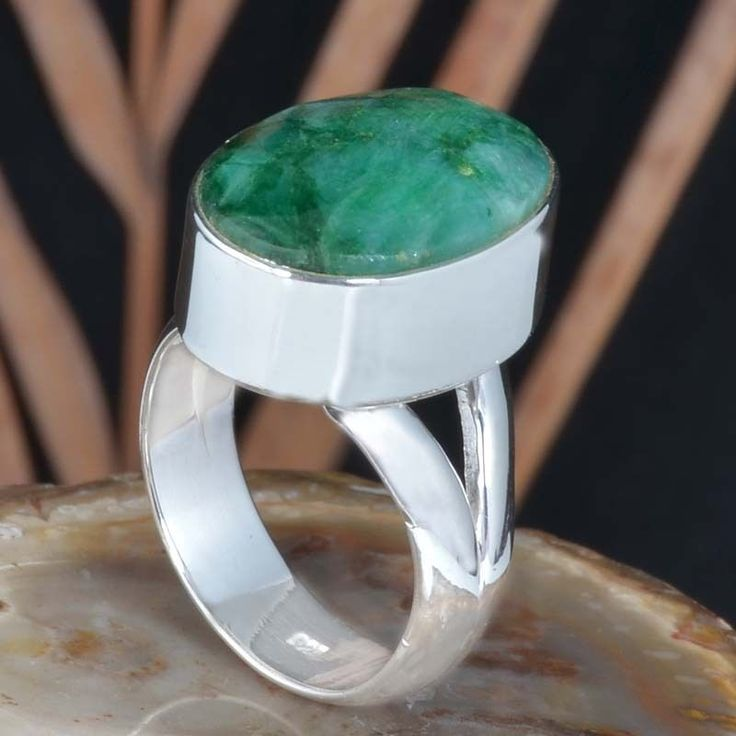 925 SOLID STERLING SILVER FANCY EMERALD FANCY RING 9.86g R11457 SZ-8 #Handmade #Ring