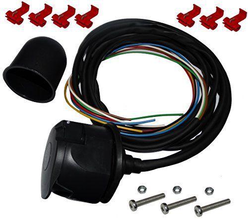 Aerzetix: Kit faisceau prise fiche de remorque câble 2m câblage attelage 7pin 12V C12385 cache boule rotule laiton: Kit faisceau, prise…