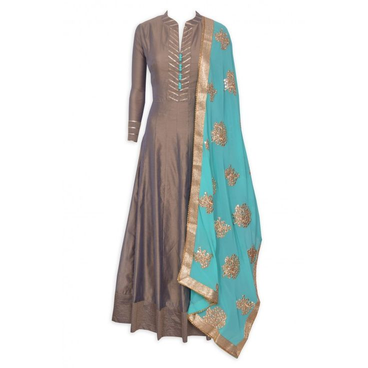 Enchanting mouse brown stitched frock suit featuring in gota work