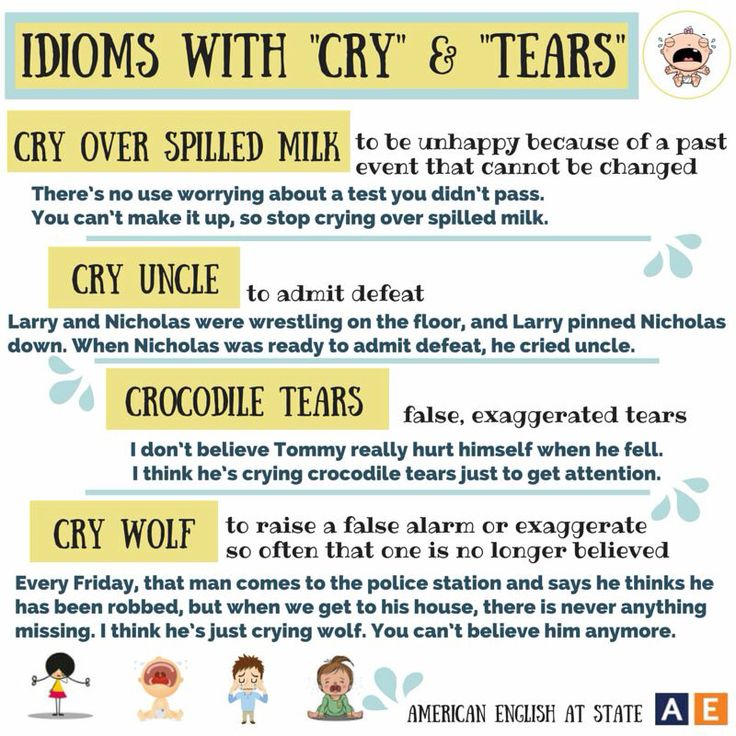 Idioms with cry and tears