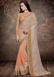 Wedding Wear Cream Net Embroidered Work Saree