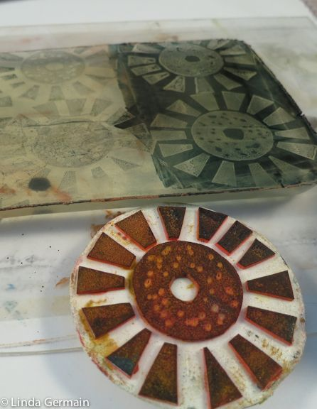 Lift off ink and stamp it back on to the gelatin plate - Linda Germain