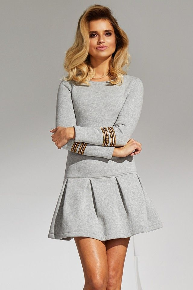d897525c89 Jasno szara sukienka bawełniana