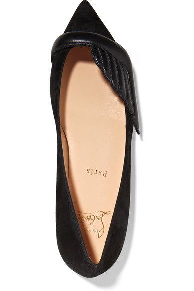 Christian Louboutin - Miss Mars Suede And Leather Point-toe Flats - Black - IT37.5