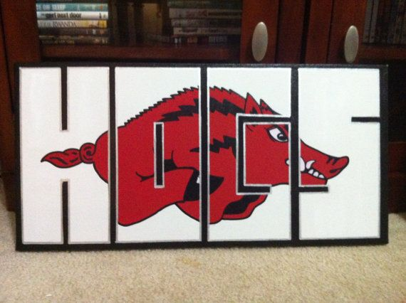 $30.00 12x24 HOGS Arkansas Razorback canvas from PInk Acorn Products on Etsy
