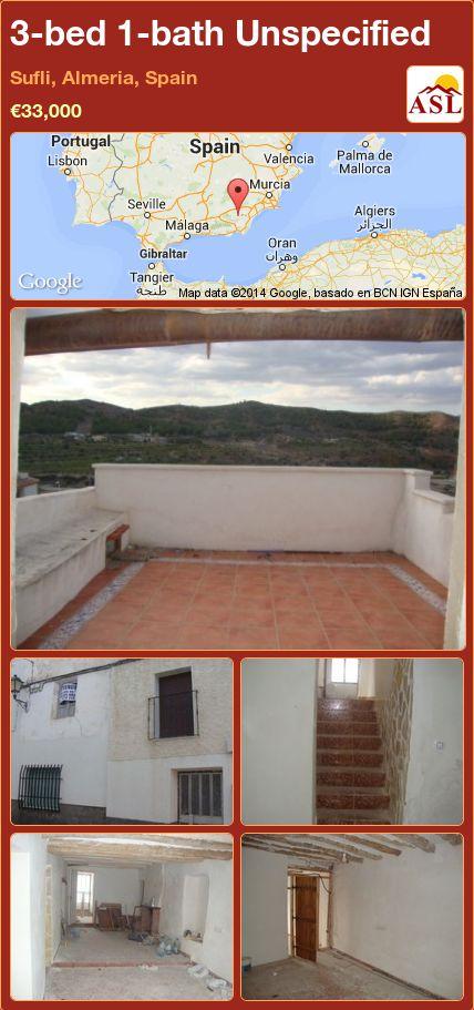 3-bed 1-bath Unspecified in Sufli, Almeria, Spain ►€33,000 #PropertyForSaleInSpain