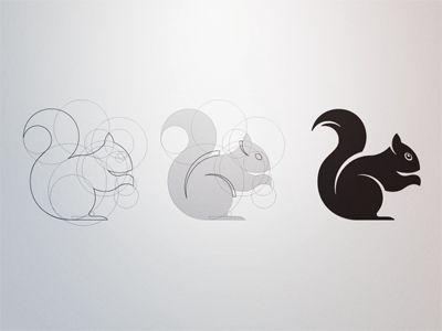 Squirrel logo construction