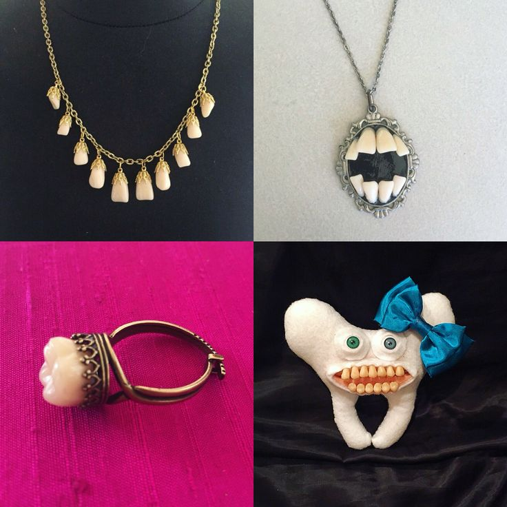 """New items in my """"Tooth Fairy Collection"""" at www.etsy.com/shop/PurgatoryPlaything and I'm very excited to be working with 4 various types of teeth!!!!! For the curious cats: I use ACTUAL authentic human teeth, prosthetic teeth used specificity in dentures and high quality sculptors clay in which I sculpt the teeth by hand."""