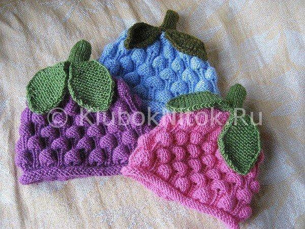 Шапочка узором «Шишечки» | Вязание для девочек | Вязание спицами и крючком. Схемы вязания.