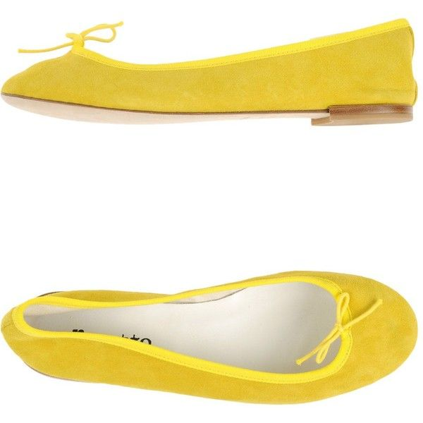 Repetto Ballet Flats (2,615 MXN) ❤ liked on Polyvore featuring shoes, flats, yellow, yellow ballet flats, round toe ballet flats, leather flats, leather ballet shoes and ballet shoes