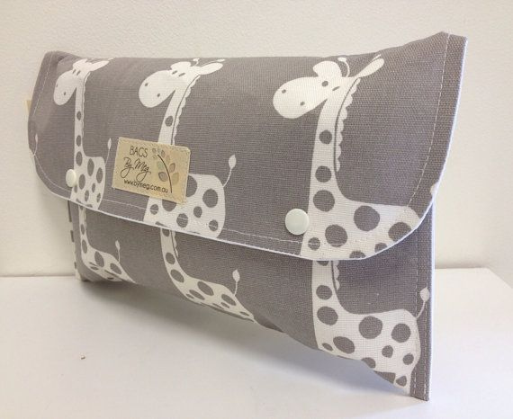 Nappy wallet or Diaper clutch 'Giraffe' off white giraffe on grey. Waterproof lining. Fantastic Gift.