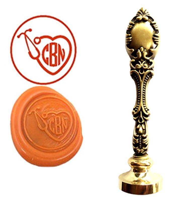 Doctor Stethoscope Vintage Custom Picture Logo Luxury Wax Seal Sealing Stamp Brass Peacock Metal Handle Gift Set