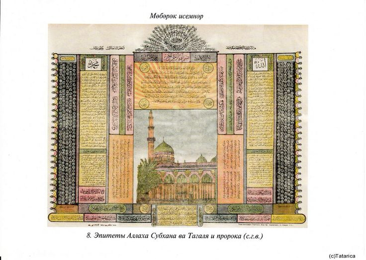 Epithets. In the middle there is a picture of Saadat mosque at Syria. The blessed names of Allah are on the right, Muhammad's names (s.g.v.) are on the left. Kazan, Karimov brothers' pressing house, 1903. 53x71.