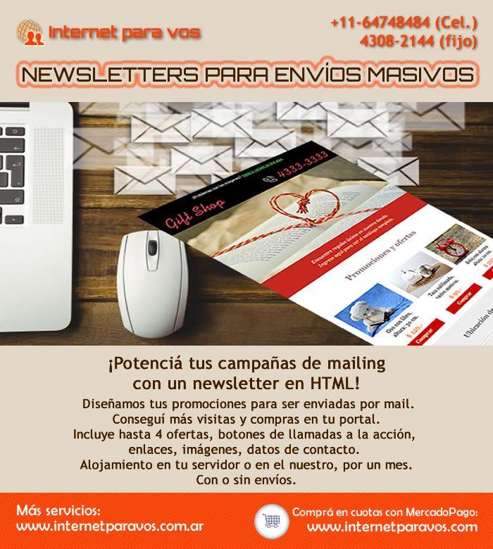 Newsletters para envíos masivos o mailing. Diseño solo o diseño más envíos. Internet para vos. Diseño web #newsletters #internetparavos #mailing #newsletter