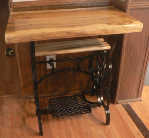 Antique Sewing Machine Treadle Coffee Table End Side Maple Slab Rustic Alabama S