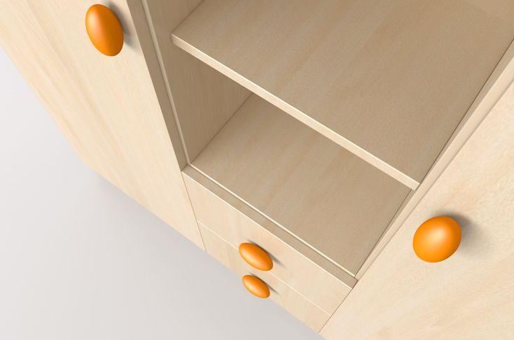 Nelli wardrobe with orange handle / Nelli szekrény narancs fogantyúkkal