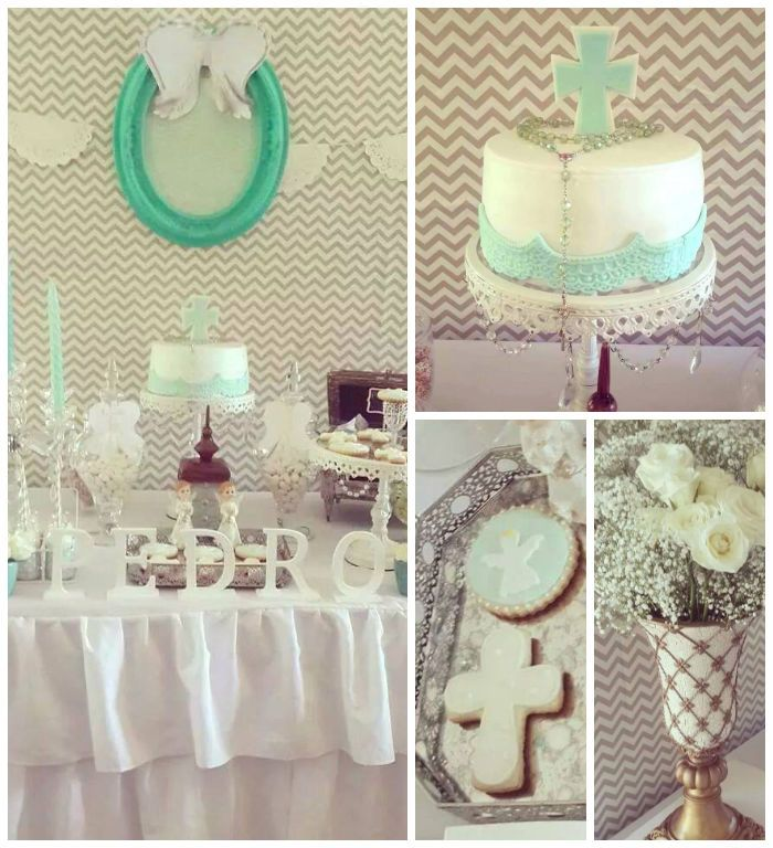 Modern Meets Vintage Baptism Dessert Table with Such Cute Ideas via Kara's Party Ideas | KarasPartyIdeas.com #babybaptism #baptism #baptismdesserttable #baptismpartyideas #partydecor #partyplanning #partyideas (2)