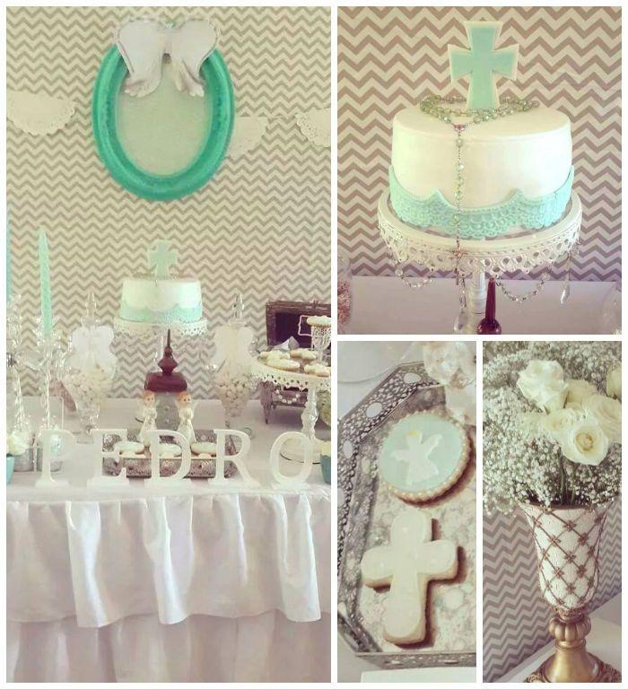 Modern Meets Vintage Baptism Dessert Table with Such Cute Ideas via Kara's Party Ideas | KarasPartyIdeas.com #babybaptism #baptism #baptismdesserttable #baptismpartyideas #partydecor #partyplanning #partyideas (2)