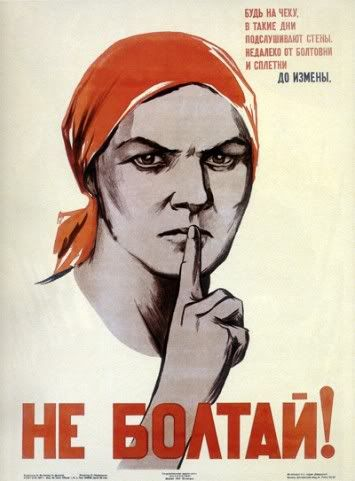 """SOVIET PROPAGANDA POSTER    """"Don't Gossip"""" and """"Be on the lookout: These days, the walls talk."""" In Soviet times, these kind of posters promoted discretion in wartime, lest the enemy hear you blabbering about military secrets."""