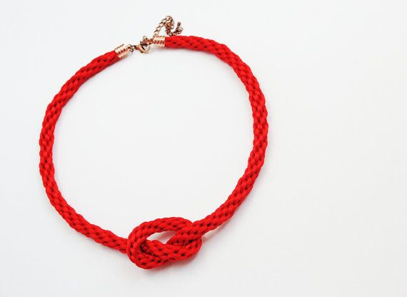 Red necklace kumihimo necklace knot necklace by elfinadesign