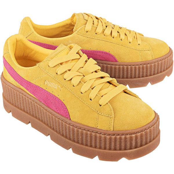 21b1bed77ec546 Fenty x Puma by Rihanna Cleated Creeper Suede Yellow    Plateau suede...  ( 185) ❤ liked on Polyvore featuring shoes